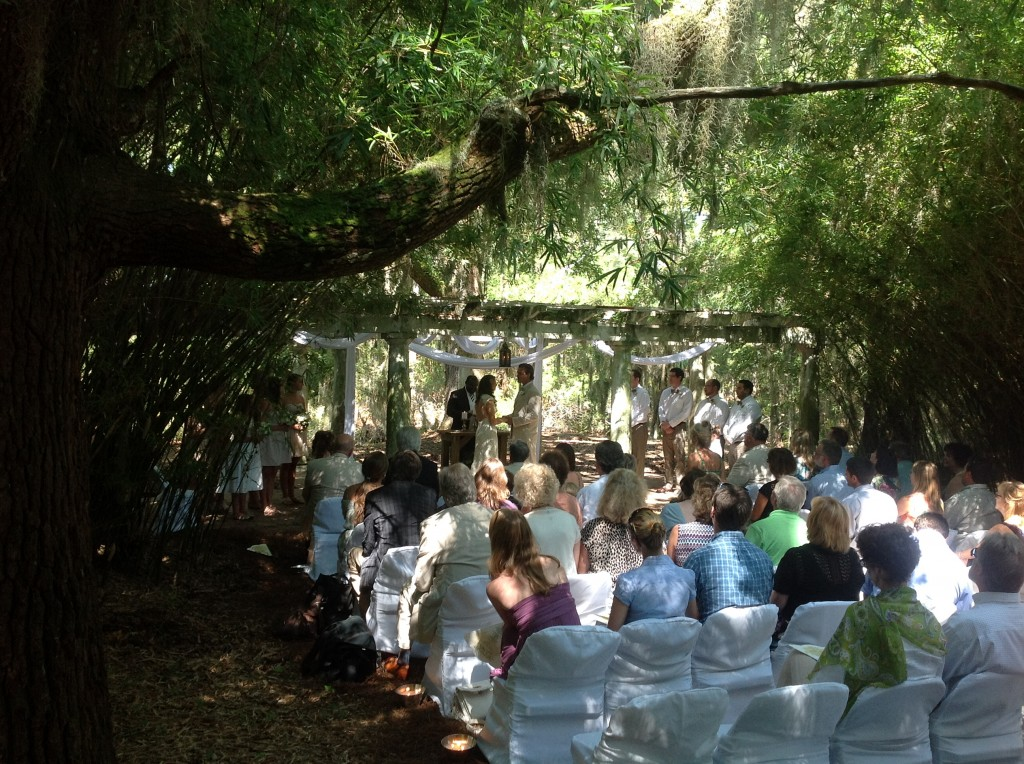 Wind whispered through the bamboo as the couple performed their nuptials with Savannah classical guitarist providing the wedding music.